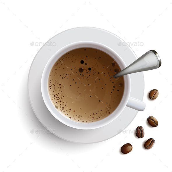 Cup of Coffee with a Spoon and Coffee Beans