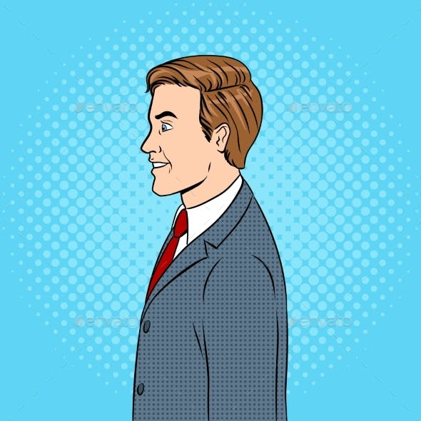 Businessman Pop Art Vector Illustration