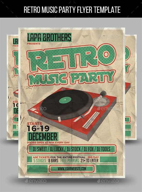 Retro Music Party Flyer Template - Events Flyers