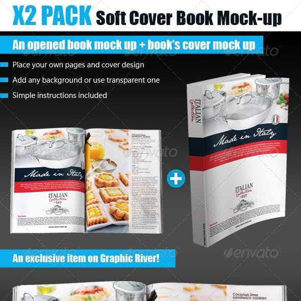 Soft Cover Opened Book Mock-up