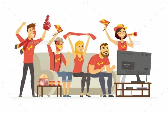 Sport Fans Cartoon People Character Isolated