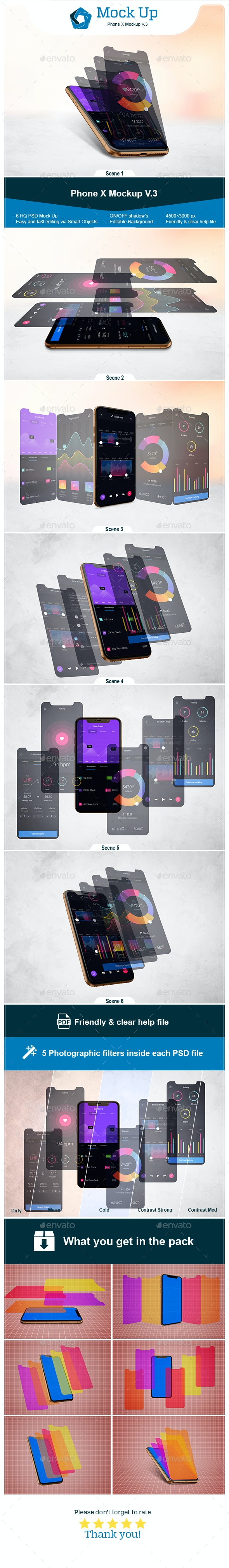 Phone X Mockup V.3 - Product Mock-Ups Graphics