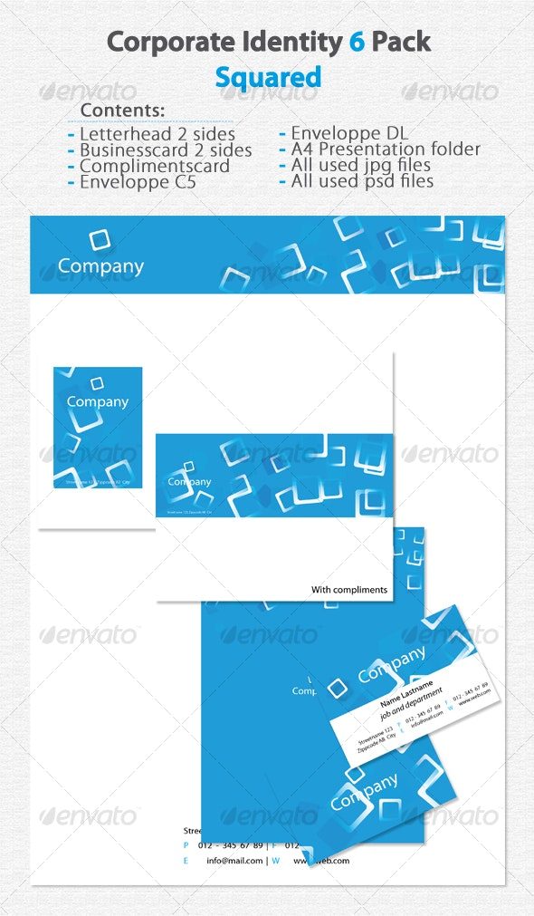 Corporate Identity 6 Pack Squared - Stationery Print Templates