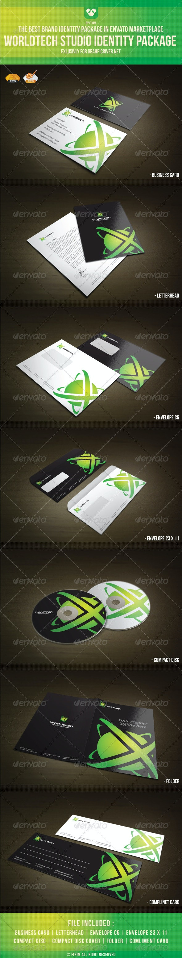 WorldTech Identity Package - Stationery Print Templates