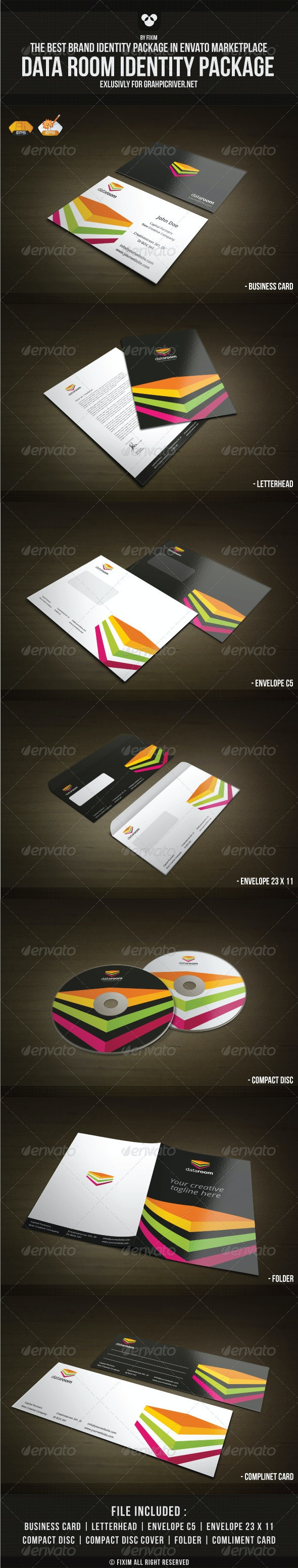Data Room Identity Package - Stationery Print Templates