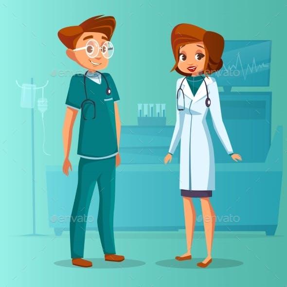Vector Cartoon Man Woman Doctors Set
