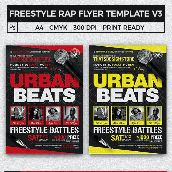 Freestyle Rap Battle Flyer Template V3