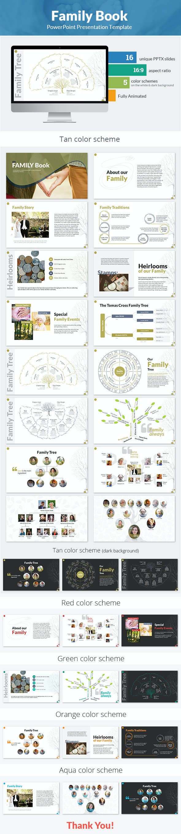 Family Book PowerPoint Presentation Template - PowerPoint Templates Presentation Templates