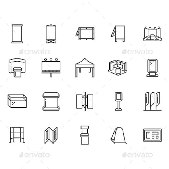 Advertising Exhibition Stands Line Icons