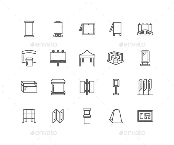 Advertising Exhibition Stands Line Icons - Business Icons