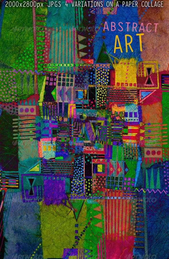 Abstract Art; Geometric Rice Paper Collage - Abstract Backgrounds