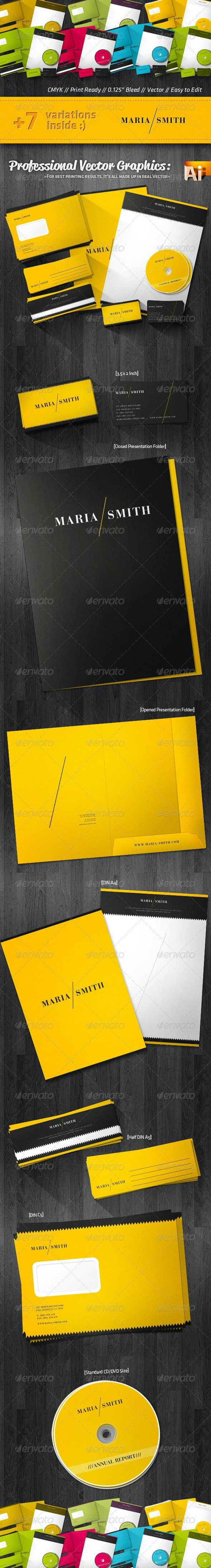 Luxury Corporate Identity Package Retro Style - Stationery Print Templates
