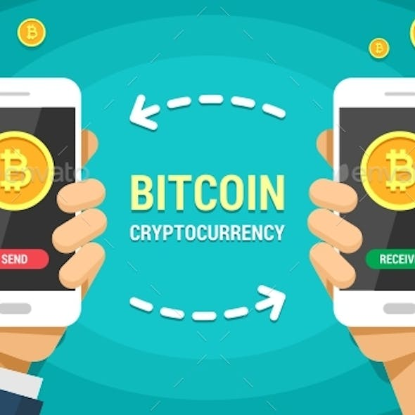 Two Hands Holding Mobile Phones With Bitcoin Cryptocurrency Vector Flat Colored Illustration