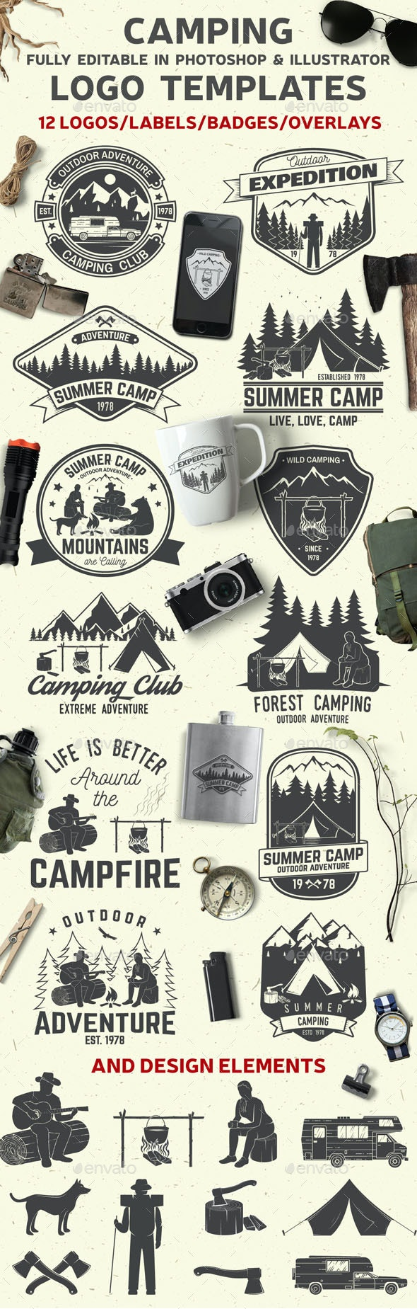 Camping Club Badges - Badges & Stickers Web Elements
