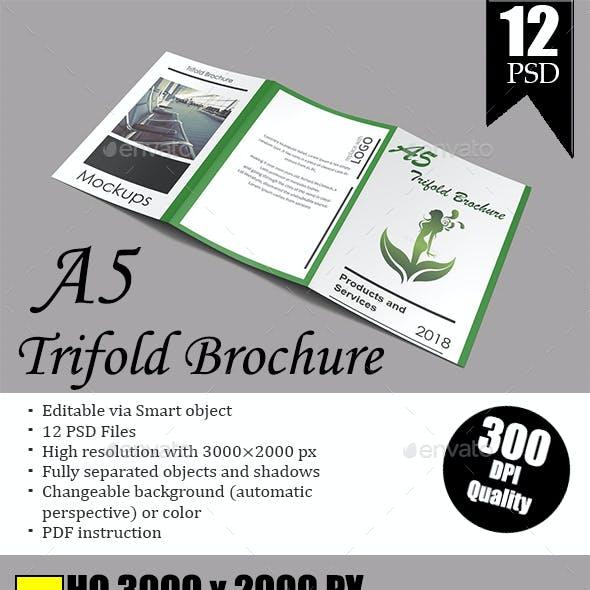 A5 Trifold Brochure Mockup Vol.1