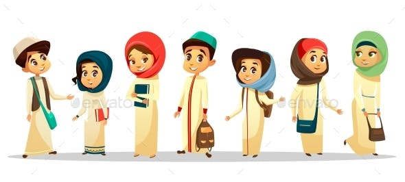 Vector Cartoon Arab Muslim Students in Hijab Set