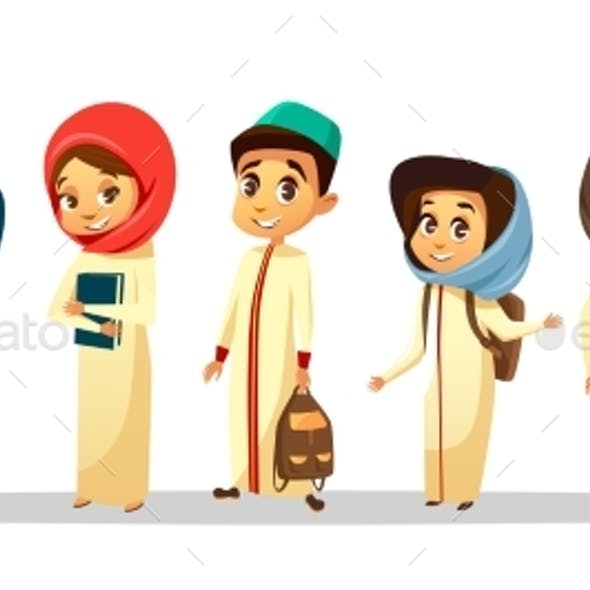 Vector Cartoon Arab Muslim Students in Hijab Set