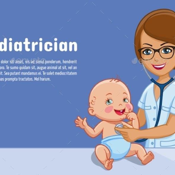 Pediatrician and Baby Vector Cartoon Illustration