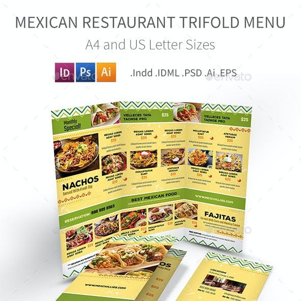 Mexican Restaurant Trifold Menu 2