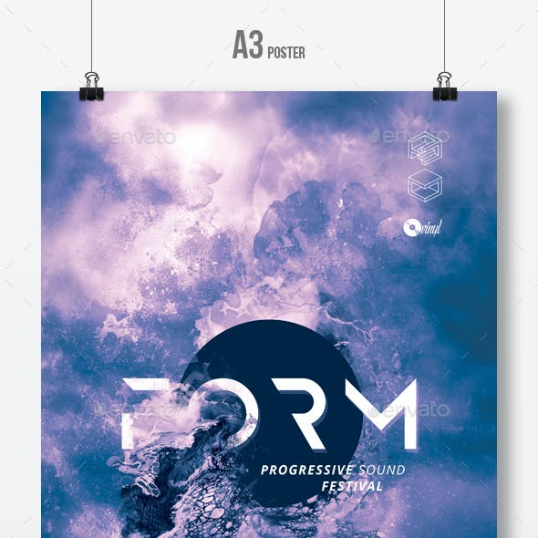 Form - Abstract Party Flyer / Poster Artwork Template A3