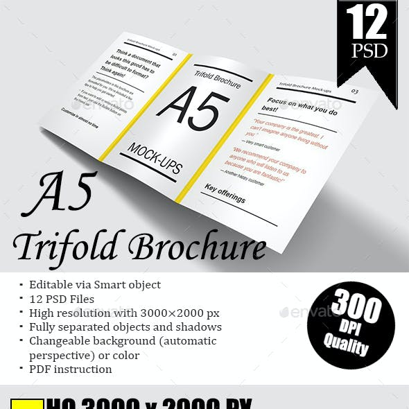 A5 Trifold Brochure Mockup Vol.2