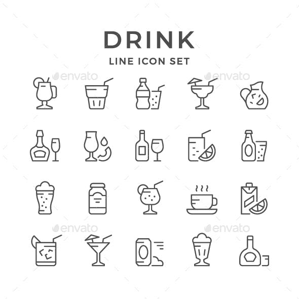 Set Line Icons of Drink
