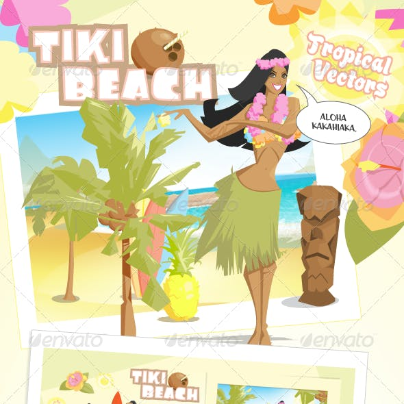 Tiki Beach Tropical Vectors