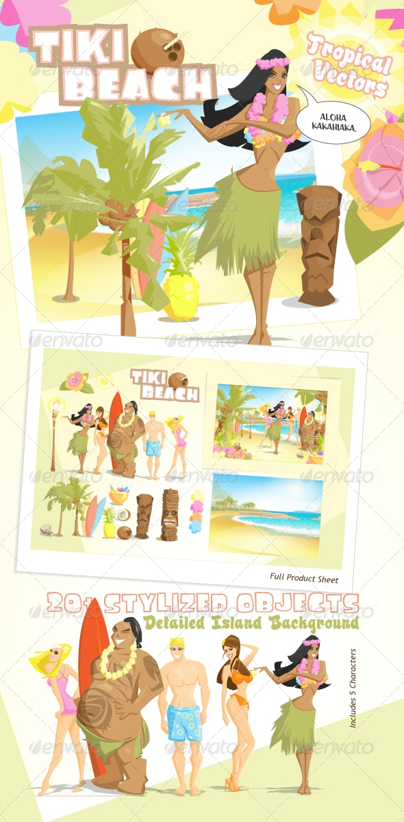 Tiki Beach Tropical Vectors - Travel Conceptual