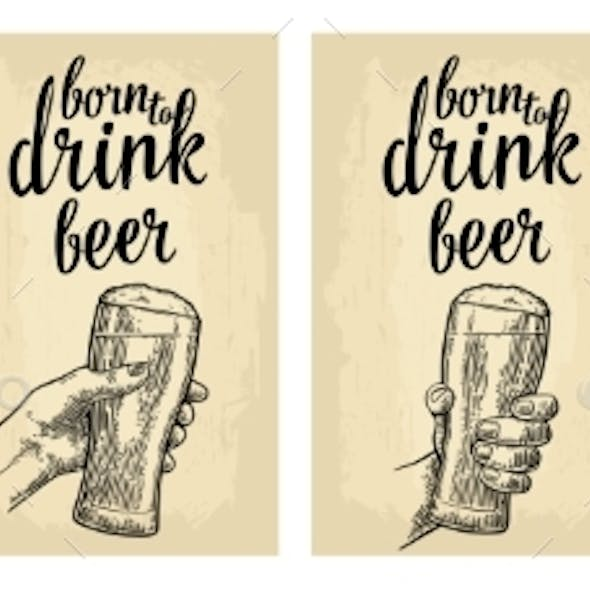 Male Hand Holding a Glass Beer Vintage Vector