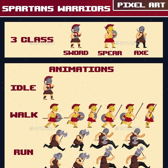 Spartans Warriors Pixel Art