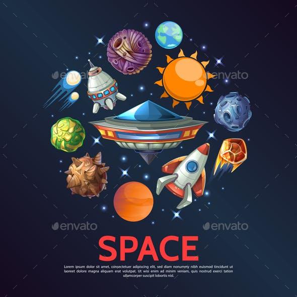 Cartoon Space Round Concept