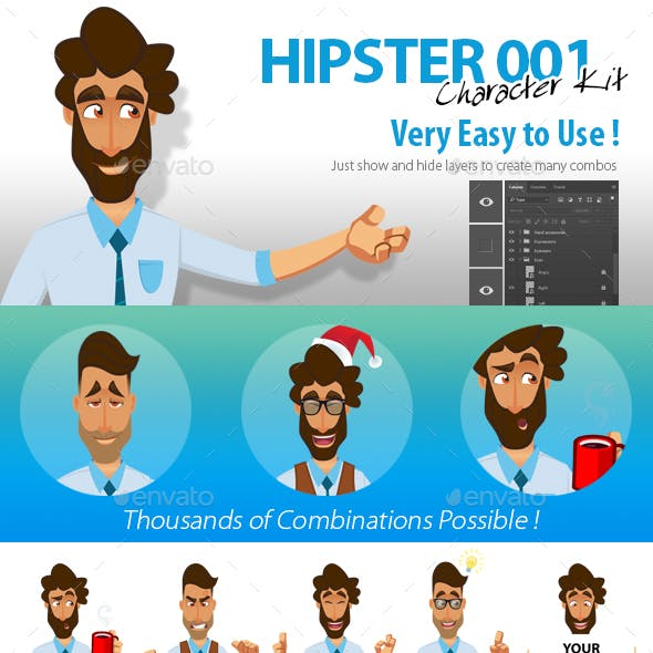 PSD Character Kit : Hipster 1