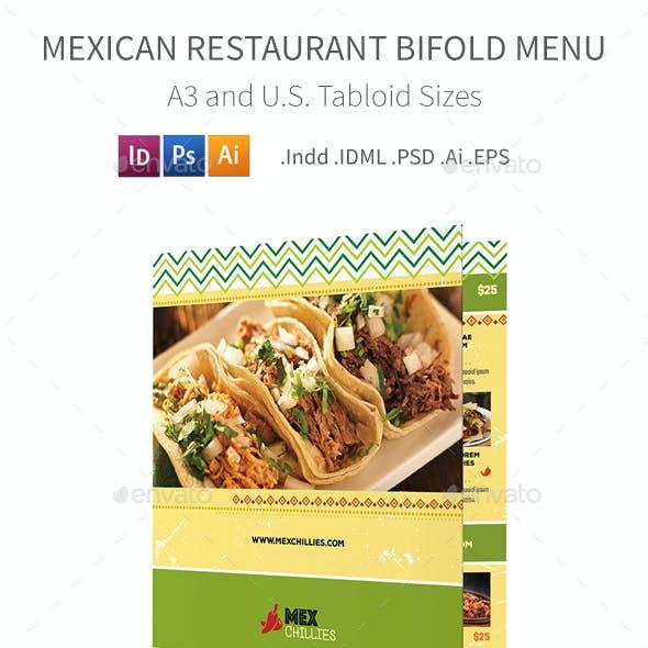 Mexican Restaurant Bifold / Halffold Menu 2