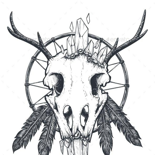 Crow Skull Totem