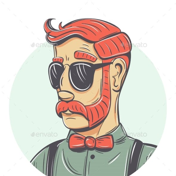 Vector Hipster Portrait