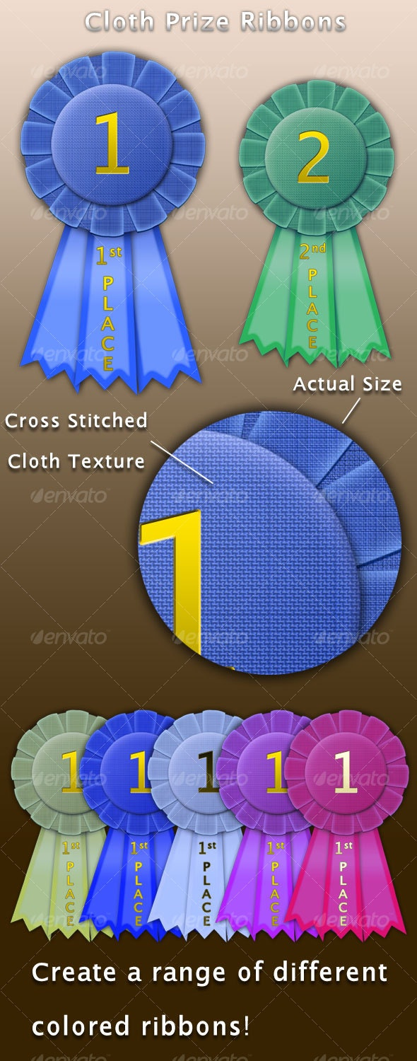 Prize Ribbons - with Cloth Texture - Web Elements