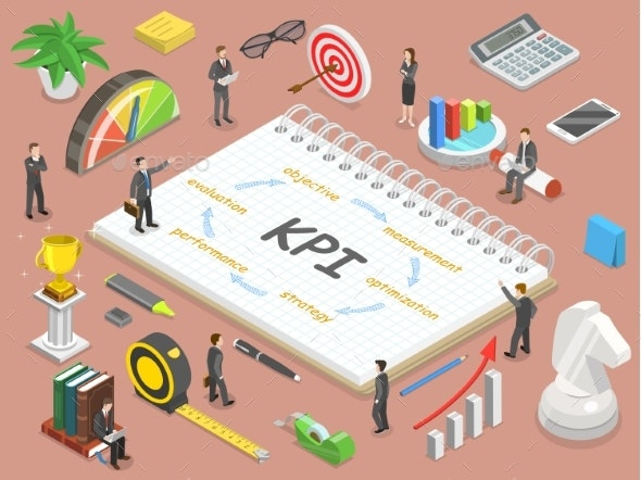 Key Performance Indicator Flat Isometric Vector - Concepts Business