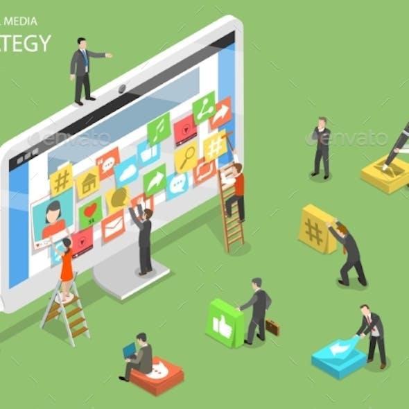 Social Media Strategy Flat Isometric Vector
