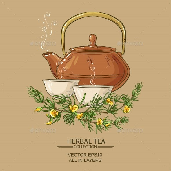 Rooibos Tea in Teapot and Tea Bowls