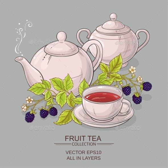 Blackberry Tea Vector Illustration