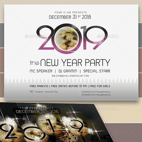 2019 New Year Party Flyers. 5 Different Styles.