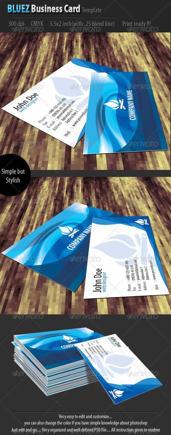 Bluez Business Card Template - Corporate Business Cards