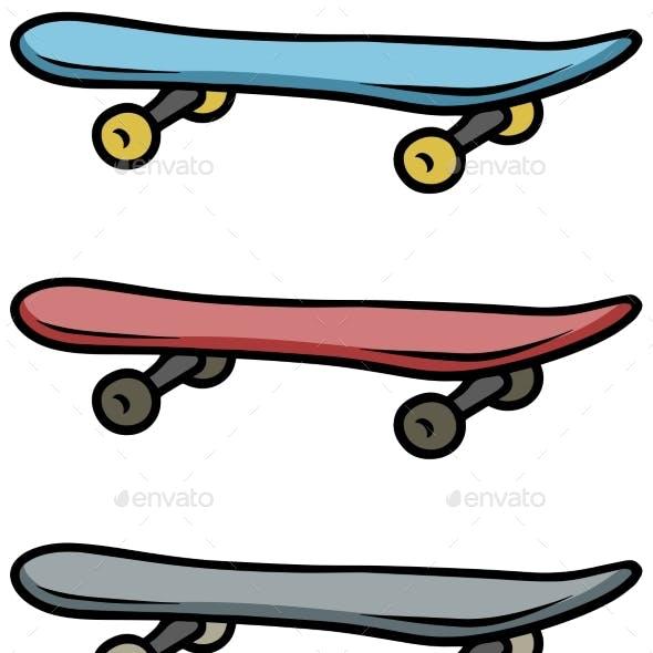 Cartoon Colored Skateboard Vector Icon Set