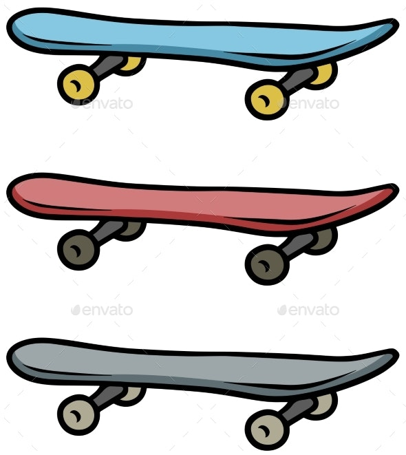 Cartoon Colored Skateboard Vector Icon Set By Gb Art Graphicriver