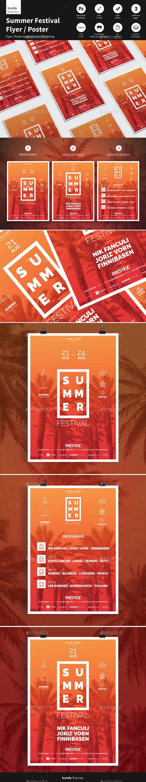 Summer Festival Flyer / Poster - Concerts Events