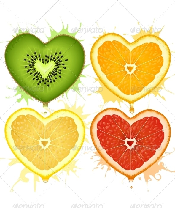 Vector citrus hearts - Food Objects