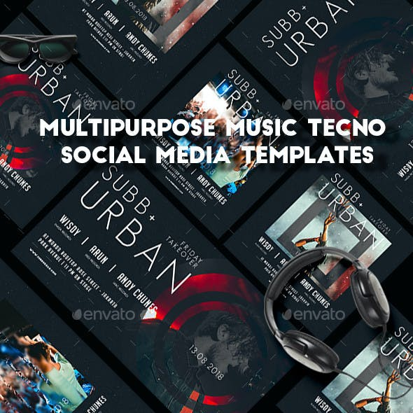 Multipurpose Music Tecno Social Media Templates
