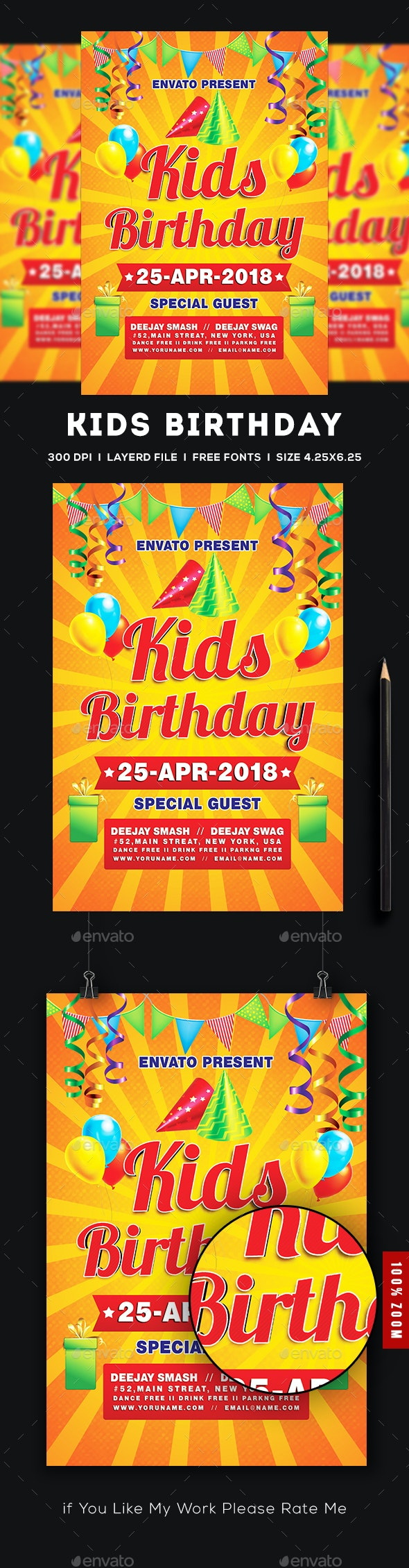 Kids Birthday Party Invitation - Clubs & Parties Events