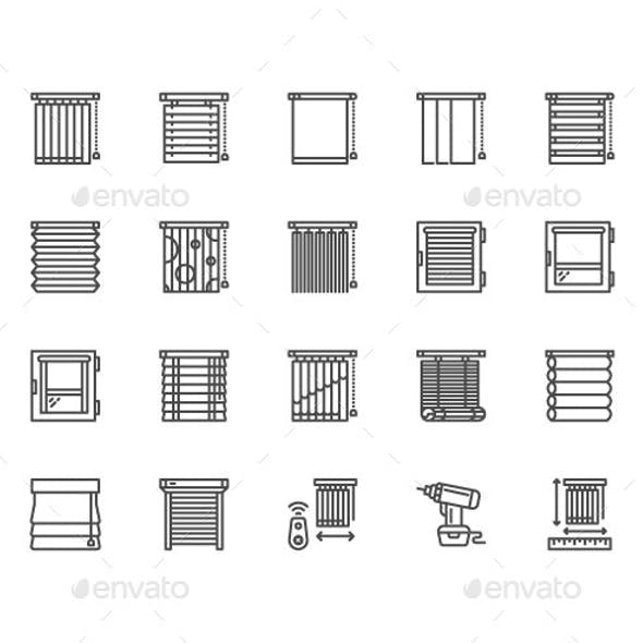 Window Blinds Line Icons