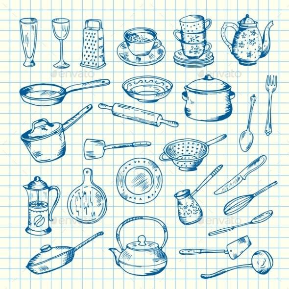 Vector Set of Kitchen Utensils on Cell Sheet